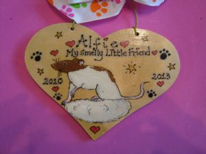 Personalised Wooden Rat Mouse Unique Sign For Cage, Bedroom or as a Memorial Handmade To Order Any Colour Pet
